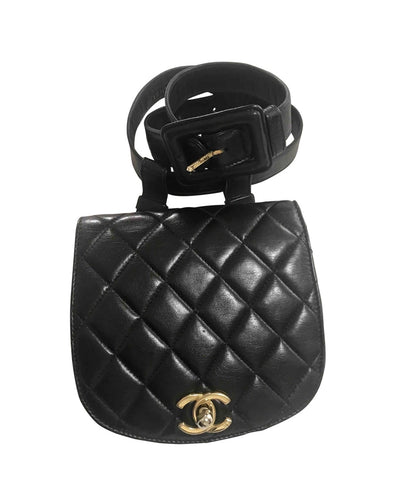 Vintage CHANEL 2.55 black fanny pack, belt bag with round flap and golden CC closure hock. Rare must have piece.