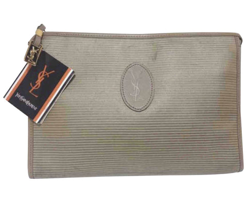 Vintage Yves Saint Laurent khaki beige clutch pouch, makeup case classic bag with leather trimmings.