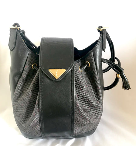 Vintage Yves Saint Laurent  black and purple hobo bucket shoulder bag with leather trimmings and golden logo plate. YSL classic purse.