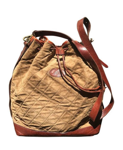 974254194fa Vintage Mulberry brown khaki quilted suede leather bucket hobo bag with  brown croc embossed shoulder strap