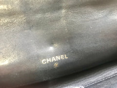 Vintage CHANEL goatskin bicorole black bill, card, checkbook long wallet pouch purse with silver mini CC motif. Classic unisex style