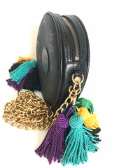 Vintage MCM black monogram mini Suzy Wong pouch bag with golden chain and multicolor fringes, designed by Michael Cromer. Made in Germany.