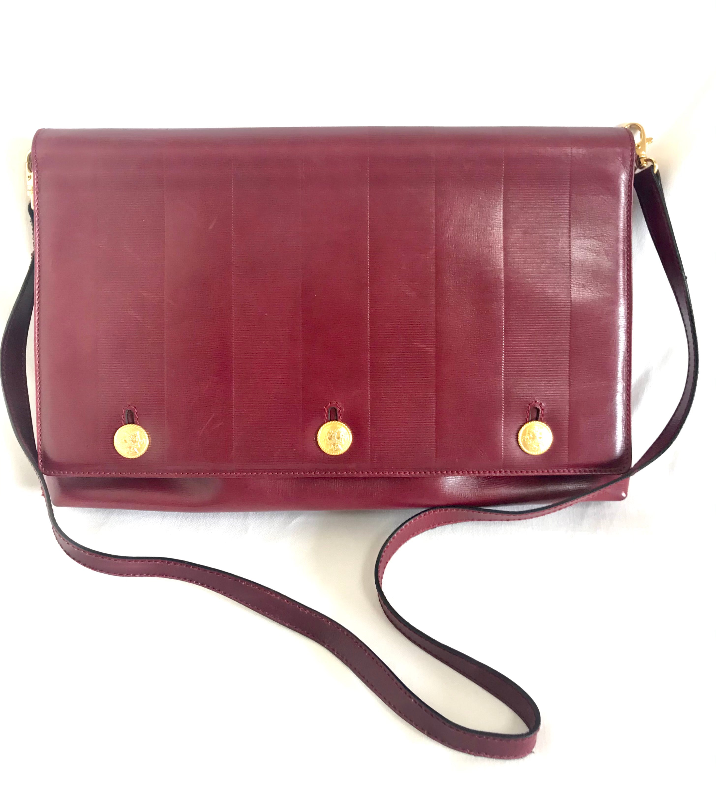 Vintage Fendi Wine Leather Shoulder Bag Large Clutch Purse With Iconi Endappi Where You Can Find Your Favorite Designer Vintages Authentic Affordable And Lovable