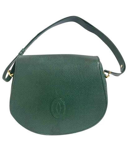 Vintage Cartier green grained leather oval round shape shoulder bag. Rare color bag from must de Cartier collection. Must have purse.