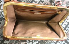 Vintage FENDI brown leather shoulder bag, large clutch purse with embossed art, Ancient Greece, Mermaid. One-of-a-kind, great masterpiece