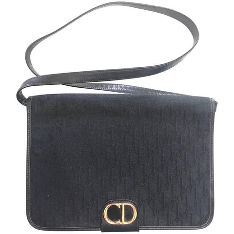 Vintage Christian Dior black logo jacquard shoulder bag, clutch bag with a large golden CD motif.