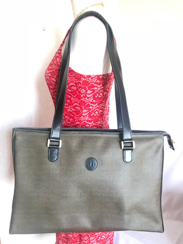 f1203d07cc Vintage FENDI classic gray logo printed large shopper tote bag with black  leather handles. Daily