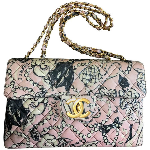 b42625bd4496 Vintage CHANEL pink coated canvas 2.55 jumbo chain shoulder bag with hat
