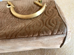 Vintage FENDI tanned brown suede twisted rope stitch bag with golden handles. Daily purse.