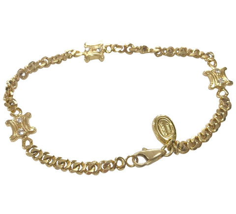Vintage Celine gold tone chain bracelet with blaison macadam charms with crystal stones. Classic jewlery back in the era.