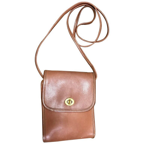 Vintage COACH genuine brown leather mini shoulder bag vertical rectangular shape. classic purse. Made in USA