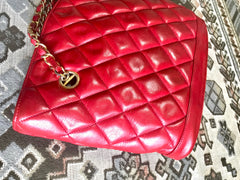 Vintage CHANEL lipstick red quilted lambskin leather trapezoid shape tote bag with a gold CC plate and chains.