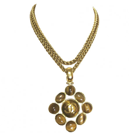 MINT. Vintage CHANEL tiger eye stone and golden CC mark pendant top statement necklace. Gorgeous healing power stone.