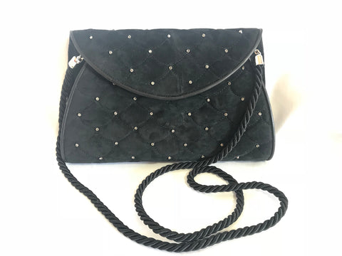 Vintage Valentino Garavani black suede leather shoulder bag, clutch purse with crystal stones and scale quilted stitches.