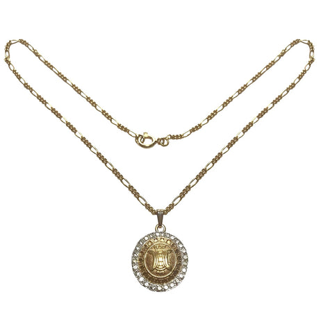 Vintage CELINE golden round logo with rhinestone pendant top skinny chain necklace. Perfect jewelry piece for any occasion.