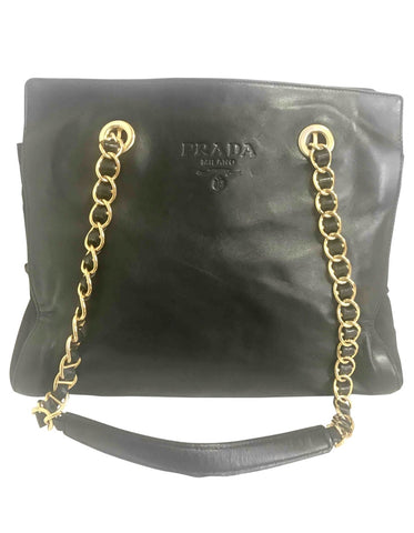 Vintage Prada black nappa leather and nylon combo chain shoulder bag with double chain straps. Classic purse back in the era.