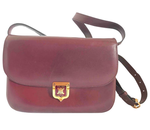 Vintage Celine wine red genuine leather shoulder bag, clutch purse with wine and golden logo. Perfect elegance for your daily use.