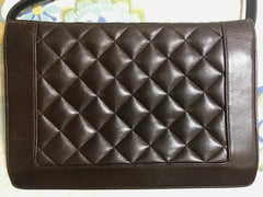 Vintage LANVIN dark brown lamb leather quilted stitch design shoulder bag, clutch purse with golden logo motif. Matelasse design purse.