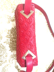 Vintage Karl Lagerfeld red fan pattern trapezoid shape shoulder bag with golden logo motif. Rare and beautiful purse.