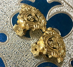 Vintage Gianni Versace gold tone medusa face motif earrings. Must have Lady Gaga style jewelry piece. Great gift.