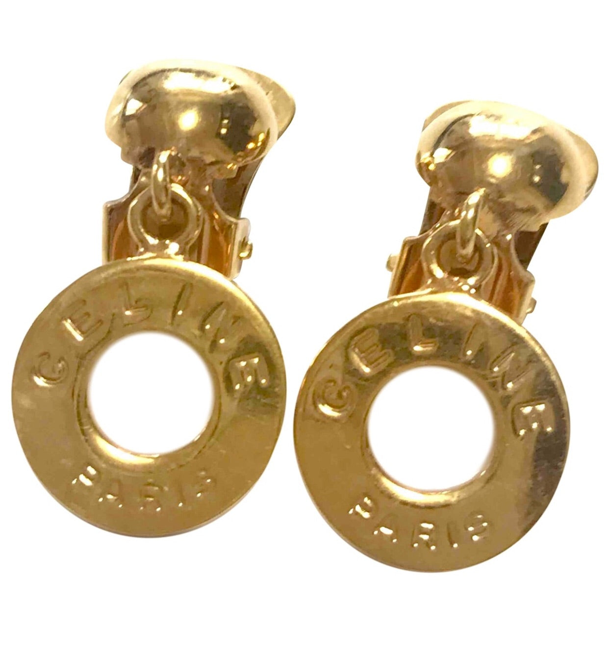 Vintage Celine golden round ball and logo embossed frame earrings. Classic dangle earrings.