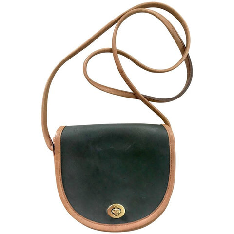 Vintage COACH genuine khaki and brown leather mini shoulder bag in half moon shape. classic purse. Made in USA