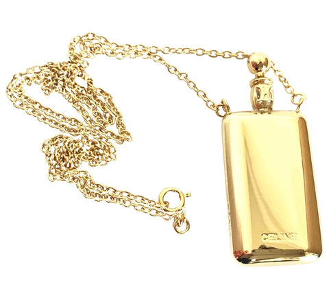 Vintage Celine gold tone long necklace with perfume bottle charm pendant top and blaison logo. Rare old jewelry piece. Must have.