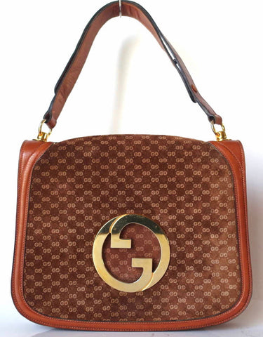 2d1b7e7a1eb93c Vintage Gucci brown leather micro GG print shoulder bag with iconic golden  large round GG motif