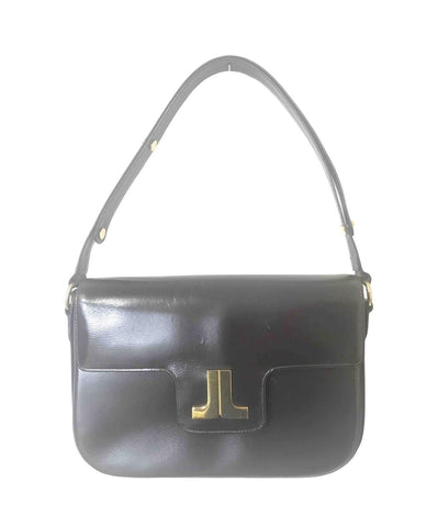 Vintage LANVIN dark brown leather elegant shoulder bag with iconic golden logo motif, Classic purse for daily use.