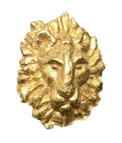Vintage Yves Saint Laurent golden lion pin brooch. rive gauche. Made in France. For hat, scarf, jacket etc.