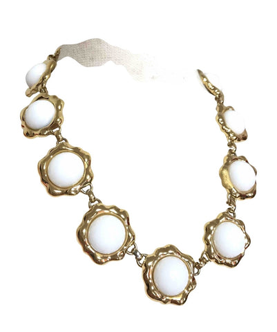 Vintage Karl Lagerfeld white glass and golden flower charm necklace with logo motif. Rare jewelry piece back in the era.