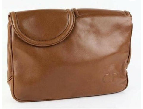 Vintage Christian Dior brown genuine nappa leather double flap clutch bag, classic unisex style bag with golden logo motif. Must have.
