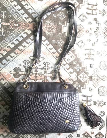 Vintage Bally quilted dark brown leather chain mix shoulder bag, tote bag with chain straps and a tassel to the zipper.