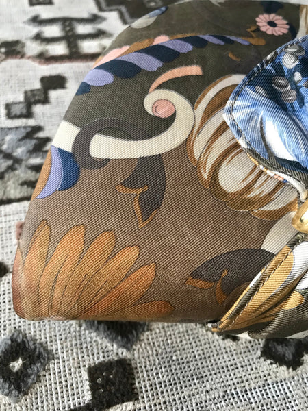 e0d0b884b65 Vintage Gucci khaki brown tone flora printed satin fabric half moon shape  clutch bag ...
