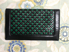 Vintage Bottega Veneta intrecciato navy and green woven lamb leather large clutch bag, purse. Unisex.