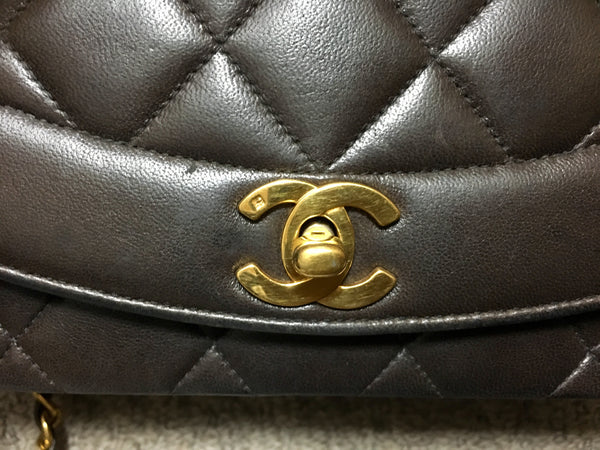 c1f79663602a ... Vintage CHANEL dark brown, black color lambskin classic 2.55 shoulder  purse with gold tone chain