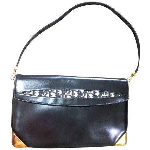 Vintage Christian Dior black calfskin leather large clutch shoulder purse with navy trotter jacquard and golden frames.Comes with coin case.