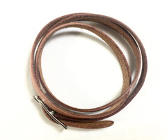Vintage Hermes brown leather and silver buckle bracelet. Classic and casual jewelry from Hermes. Best jewelry for daily and unisex use.