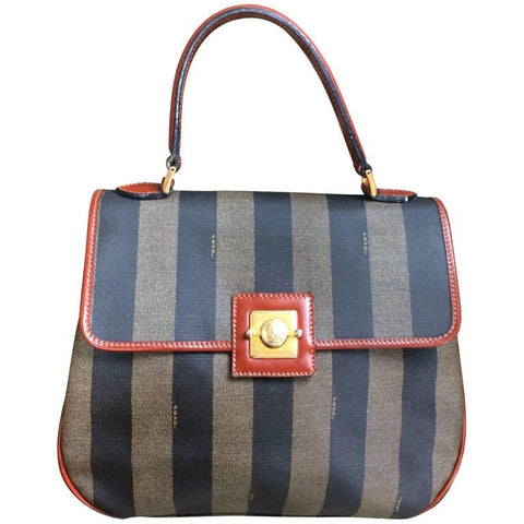 Vintage FENDI pecan stripe large handbag, purse with brown leather trimming and gold tone closure, Fendi classic bag.