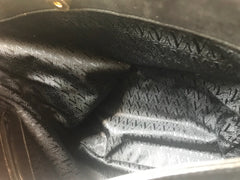 Vintage Valentino black quilted leather shoulder bag, tote bag with golden logo embossed star studded motifs allover.