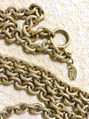 Vintage CHANEL long chain necklace with large and small CC mark pendant top. Gorgeous masterpiece jewelry.