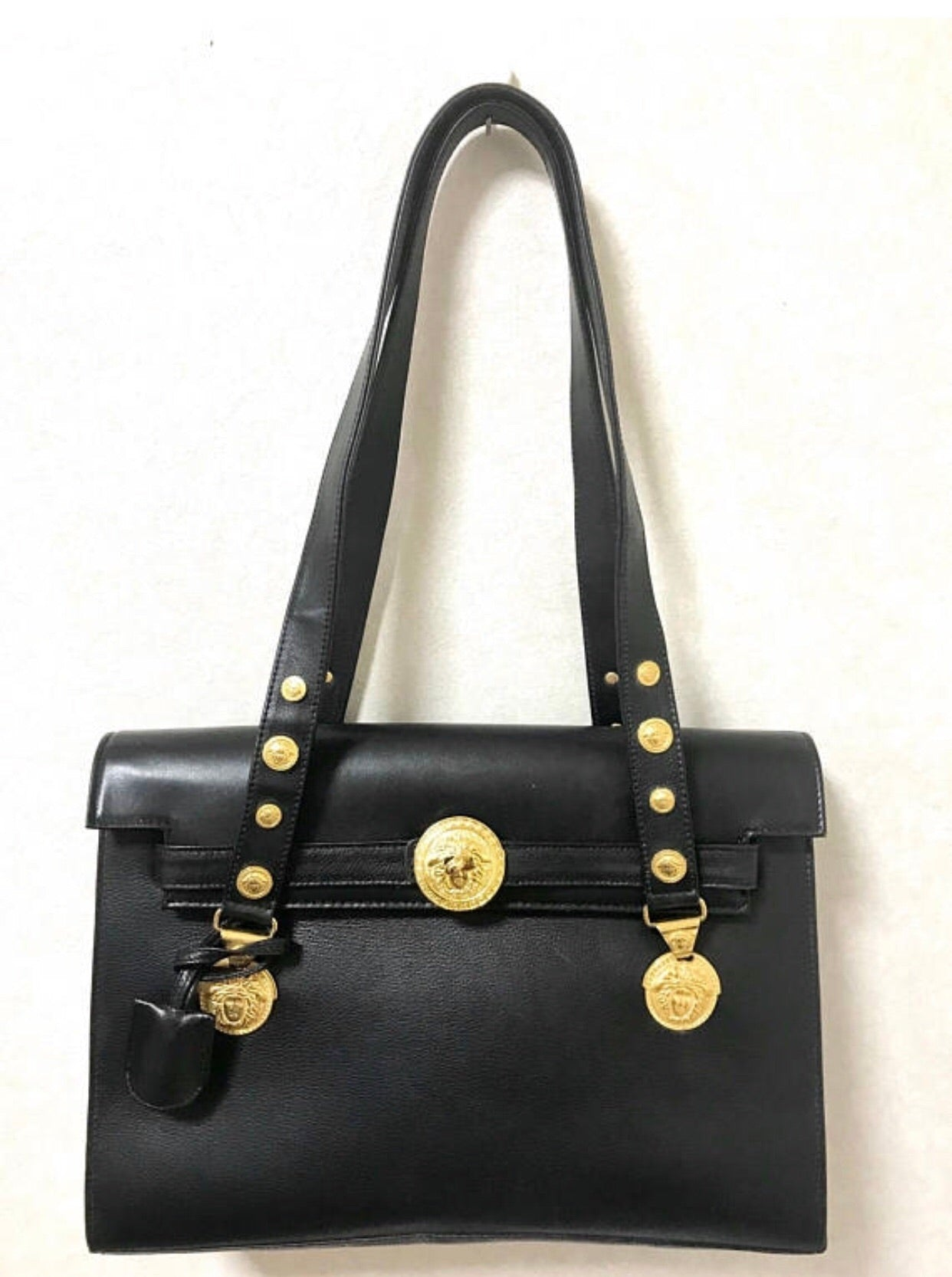c25e9269319c Vintage Gianni Versace black leather Kelly bag style shoulder tote bag with  golden medusa motifs and
