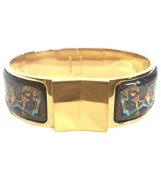Vintage Hermes cloisonne enamel golden click and clack Flacon bangle with multicolor ethnic and horse design. Great gift idea.