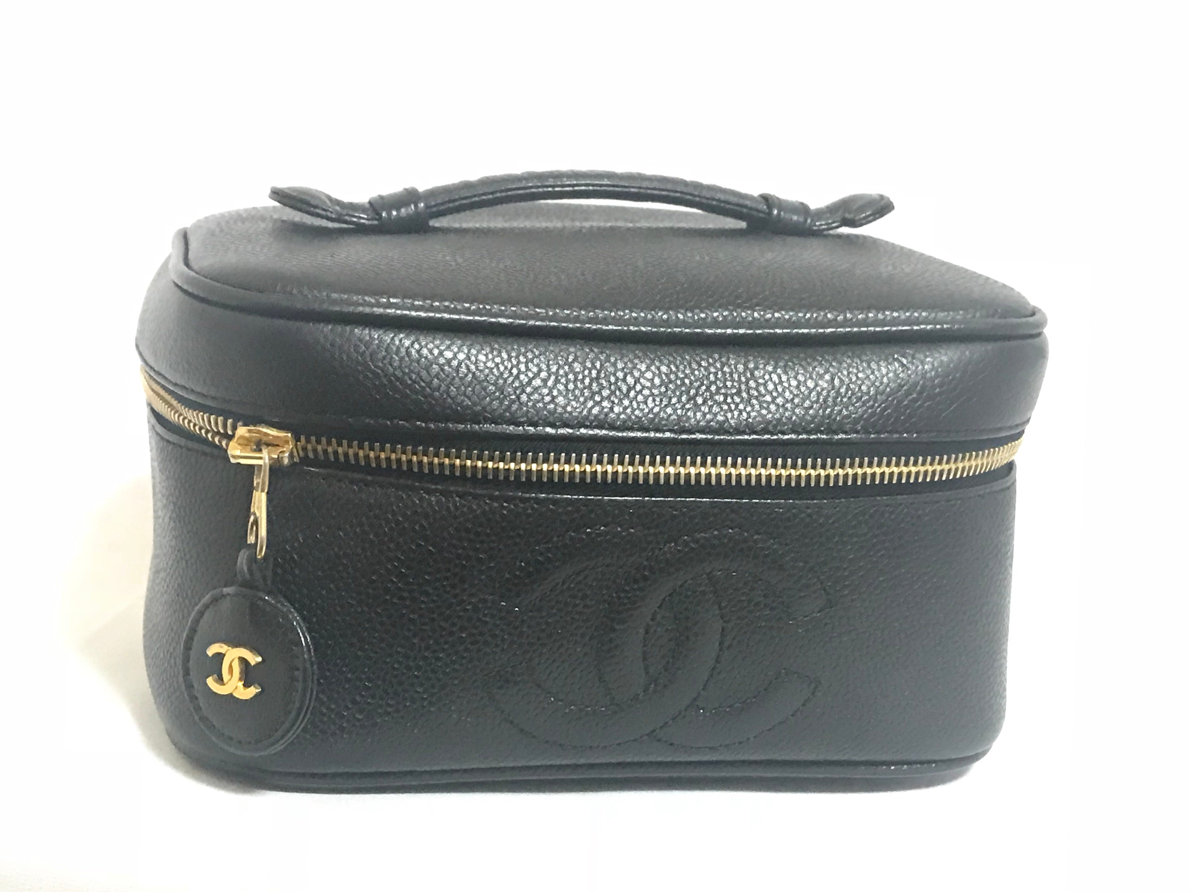 68fa9e3da372 Vintage CHANEL black caviar leather cosmetic, makeup and toiletry purse.  Very chic vanity purse