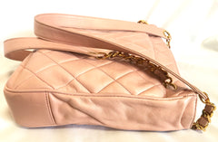 Vintage CHANEL milky pink lambskin shoulder tote bag with gold tone chain straps and CC ball charm. Classic purse.