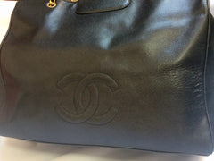 Reserved for Leonis. Vintage CHANEL black caviar leather Overnighter, Weekender bag, extra large chain shoulder tote bag with large CC closure. Must have.