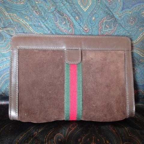 SOLD OUT: Vintage Gucci Accessory collection brown suede toilet clutch purse. Sherry collection. Very rare material.