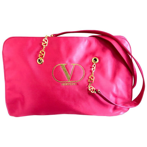 Vintage Valentino Garavani pink satin large tote with gold tone V logo chain straps. Good for daily bag. Great daily use shopper bag.