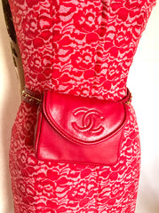 "Vintage CHANEL red leather belt bag, fanny pack with detachable chain belt and CC stitch mark on flap.  Fits 29.5"" through 32.8"""