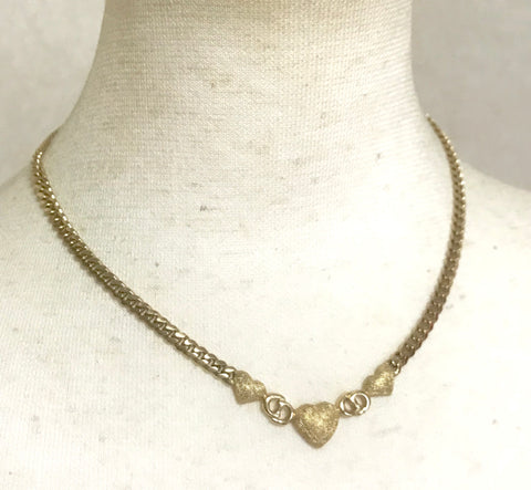 Vintage Christian Dior logo and heart shape motif, golden chain statement necklace. Perfect Dior vintage jewelry .